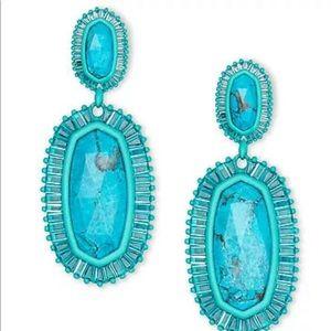 Kendra Scott Kaki Matte Aqua Blue Agate NWT $195